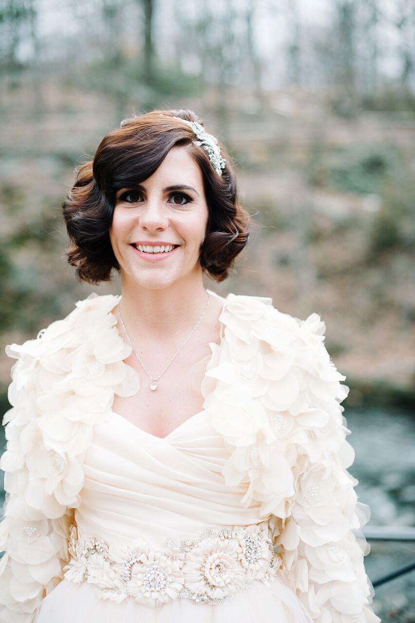 bride wearing vintage accessories