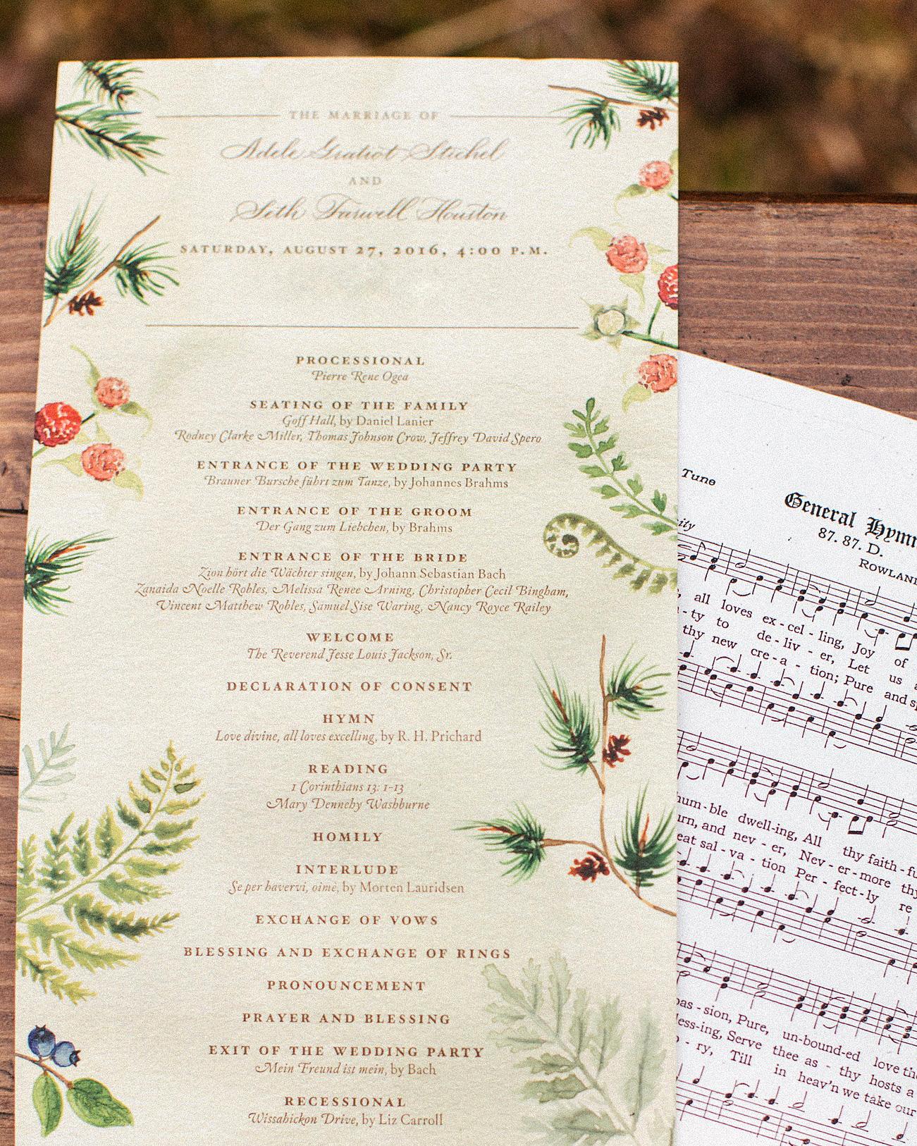 adele seth wedding programs