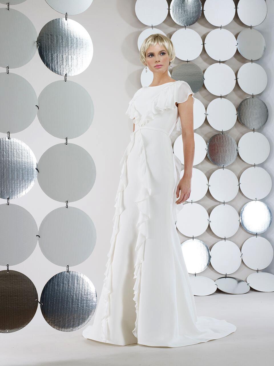 steven birnbaum bridal wedding dress fall 2018 short sleeves ruffles a line