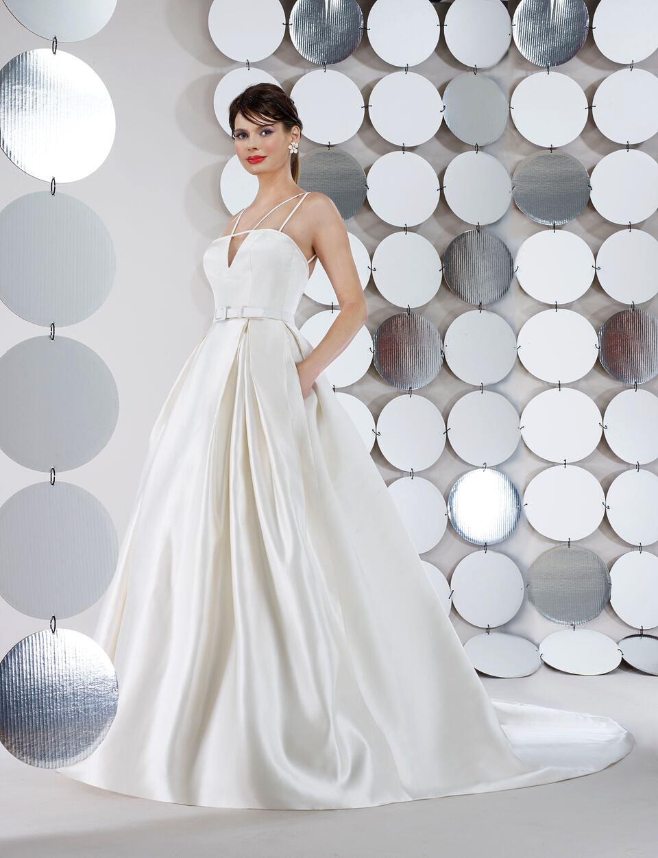 steven birnbaum bridal wedding dress fall 2018 spaghetti strap v neck ballgown
