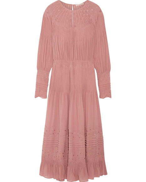 long sleeve pink gown