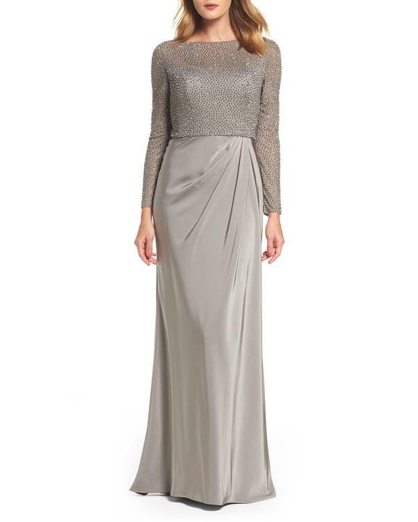long sleeve tan gown
