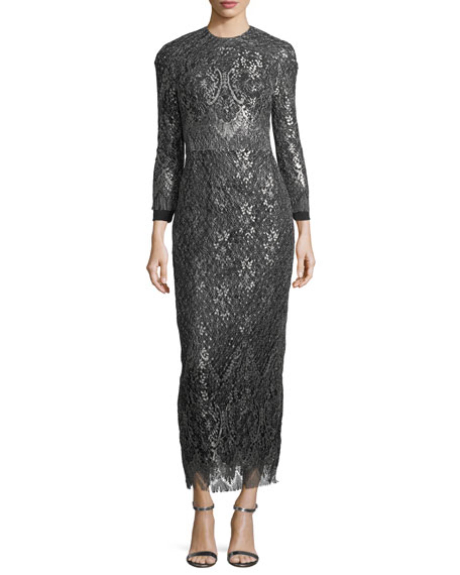long sleeve silver dress
