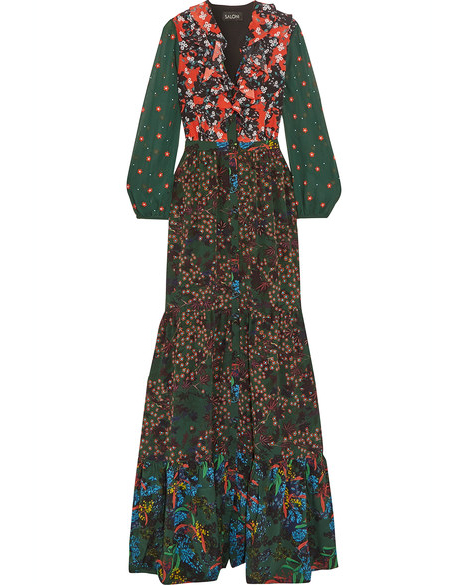 long sleeve multi-print dress