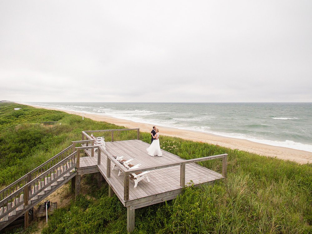 beach bride groom deck