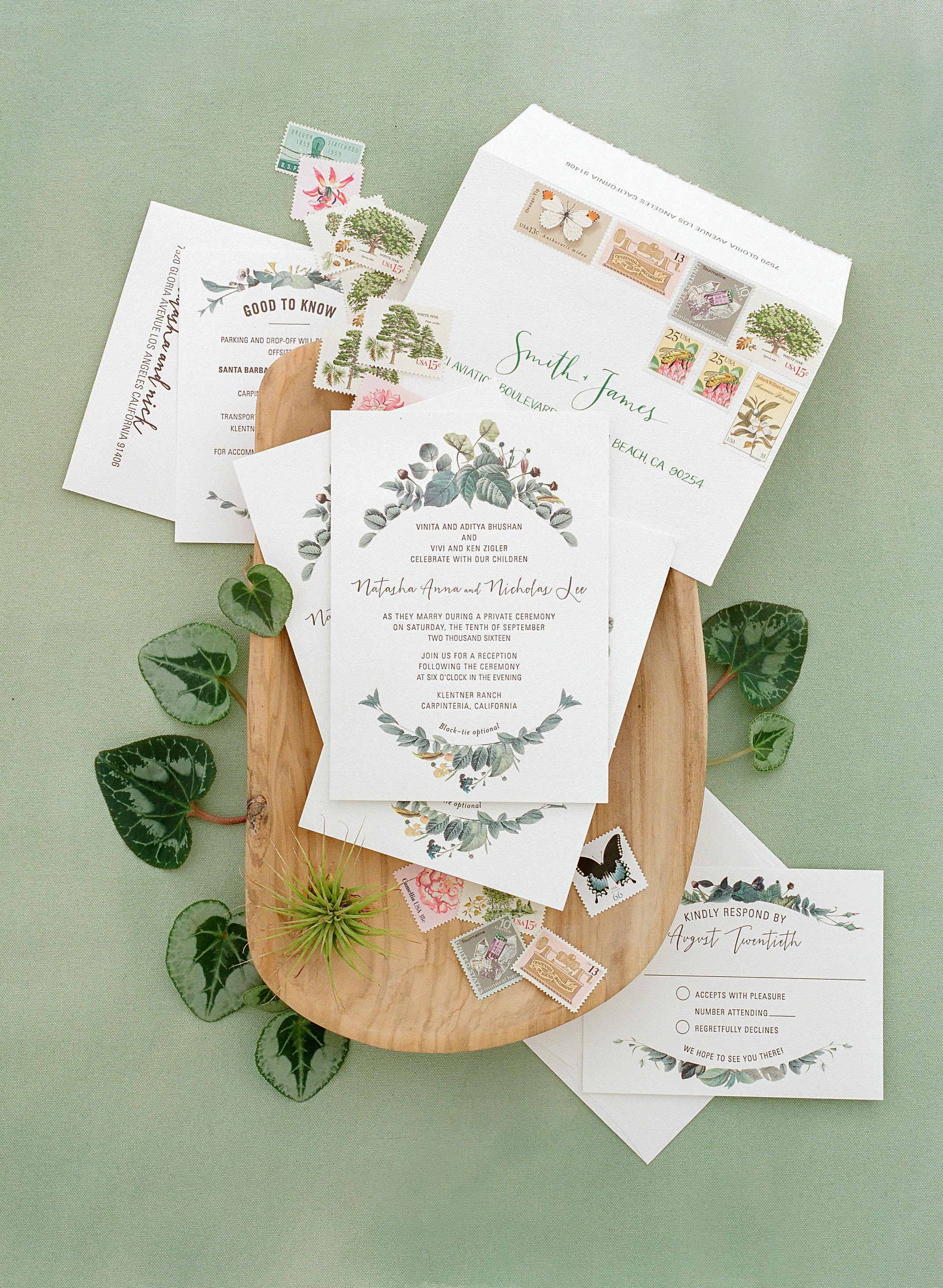 natasha nick wedding california stationery
