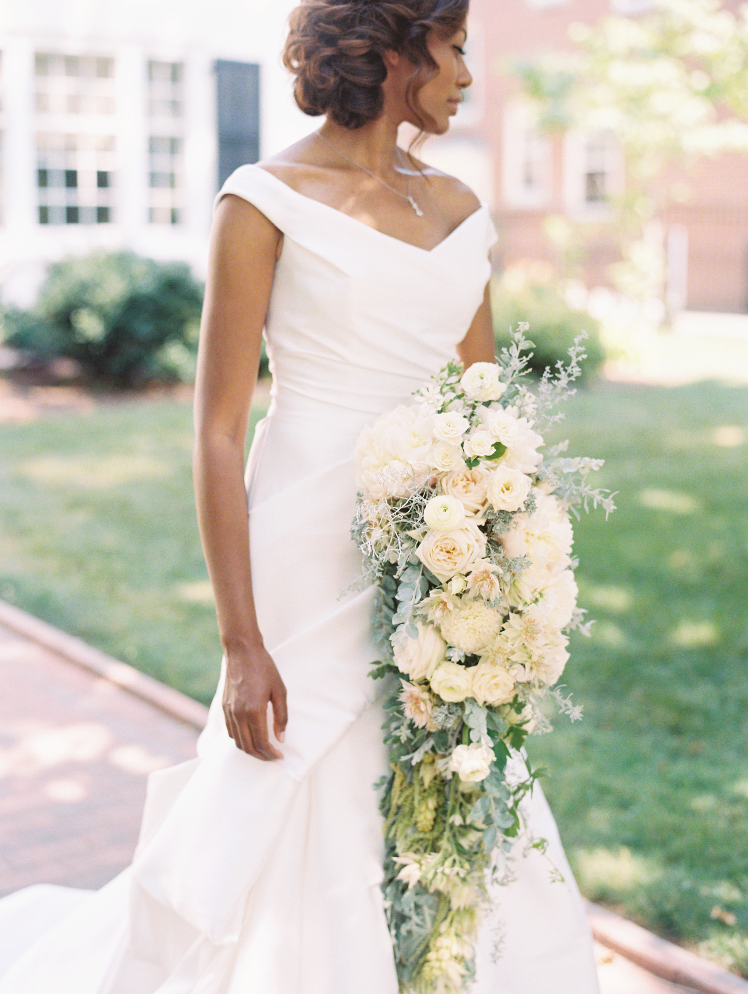 Cascading Wedding Bouquet with Garden Roses and Peonies