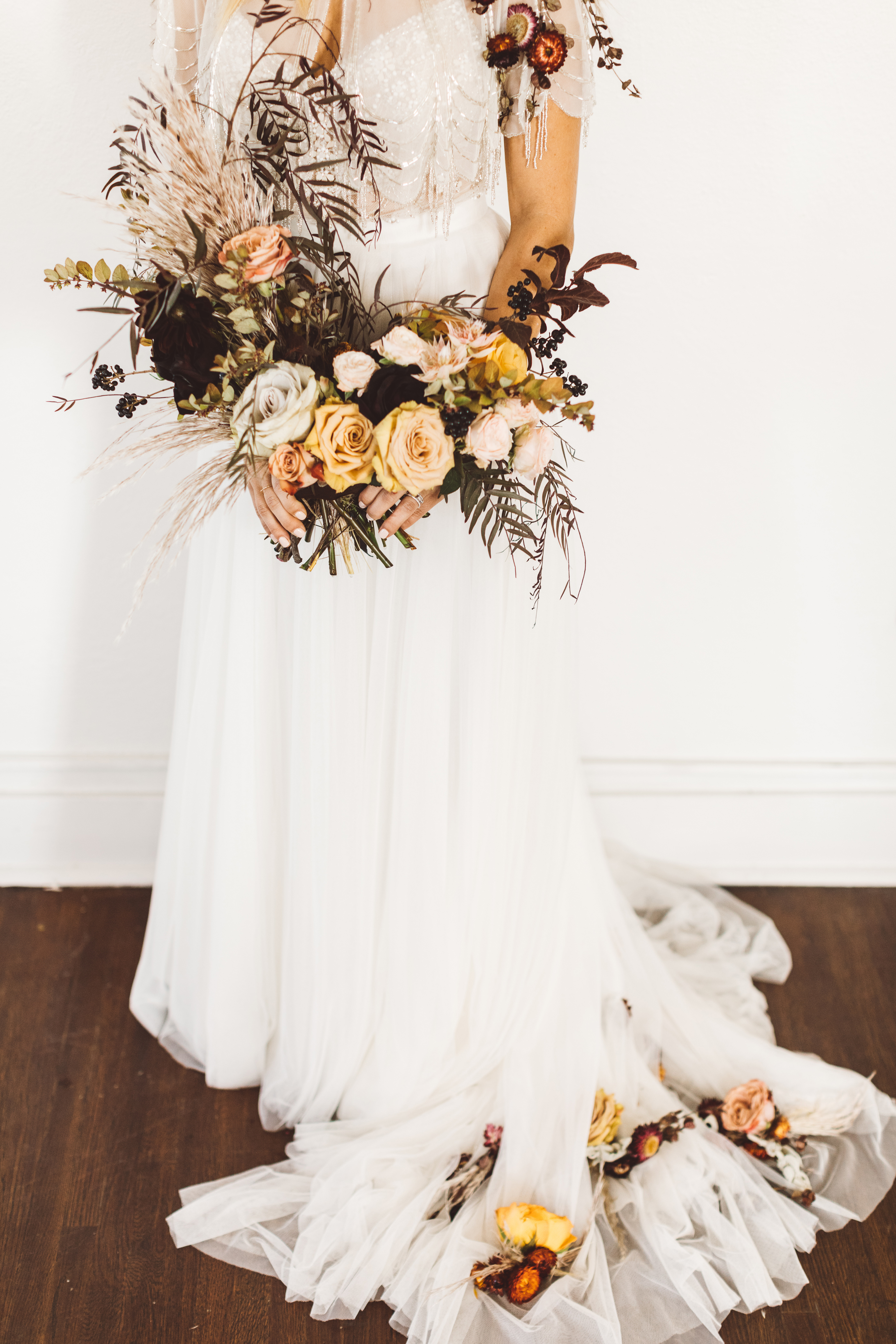Wispy, Muted Bouquet with Pampas Grass and Roses