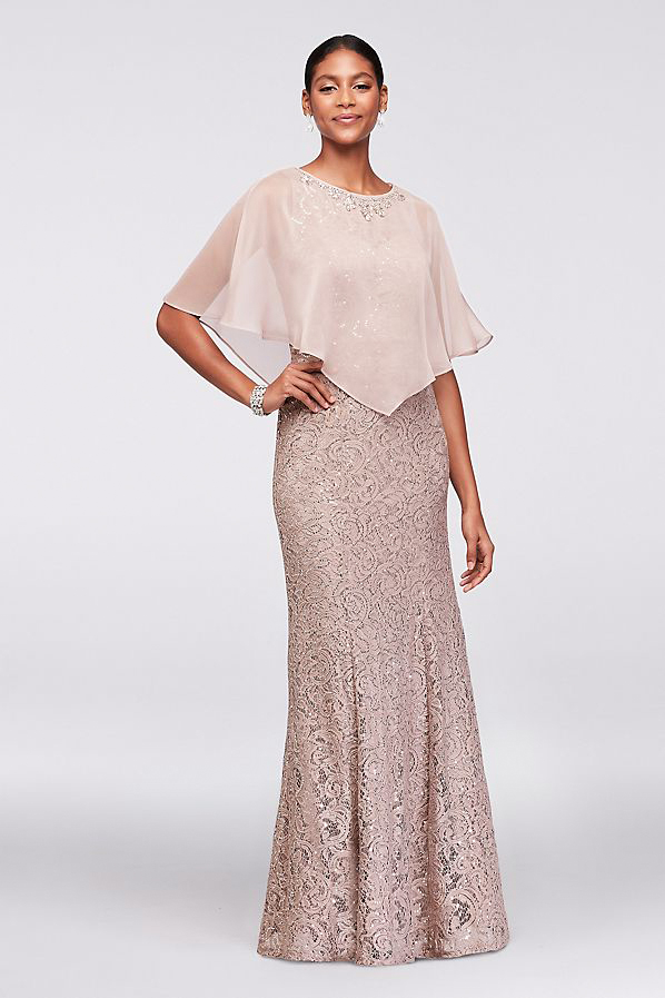 mother of the bride lace mermaid dress beaded capelet