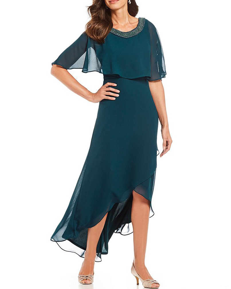 mother of the bride dress hi-low poncho overlay with jacket