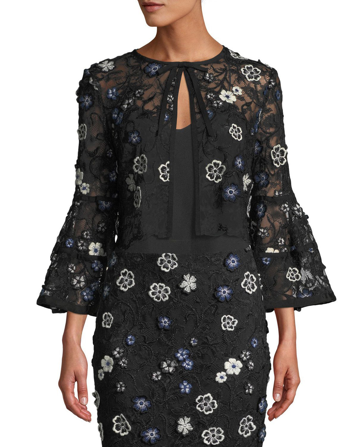 mother of the bride dress Embroidery Bolero Jacket black floral
