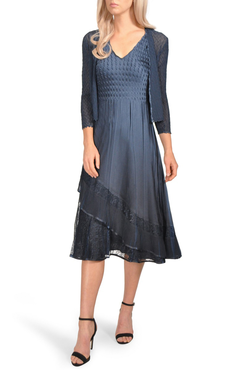 mother of the bride dress blue tiered lace trim with jacket