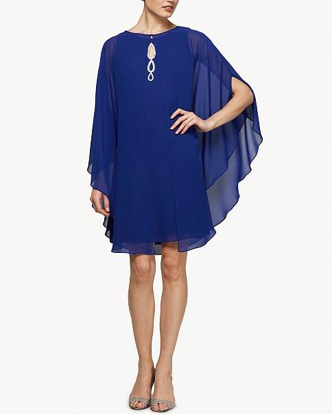 mother of the bride dress blue embellished capelet dress