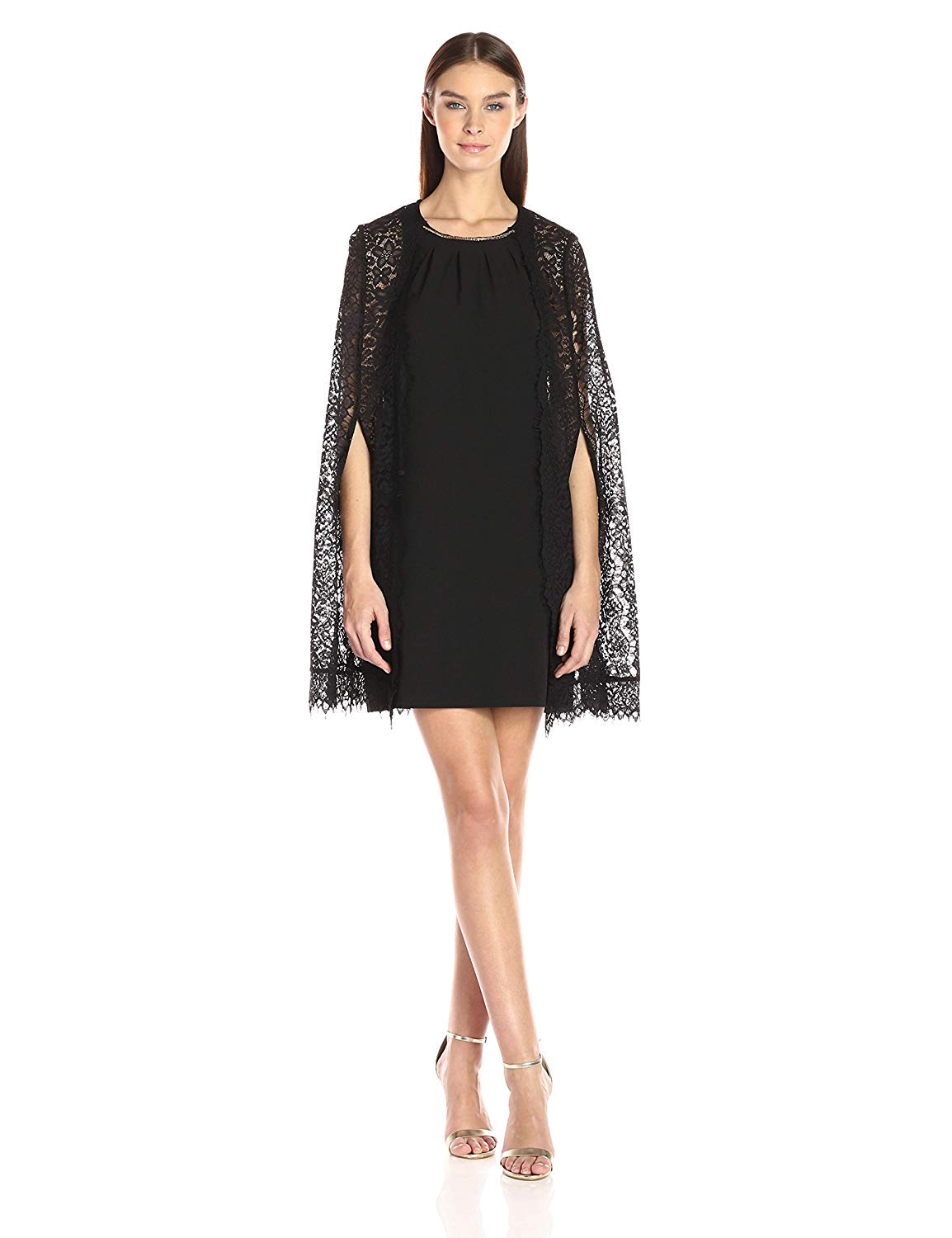 mother of the bride dress scalloped lace cape short