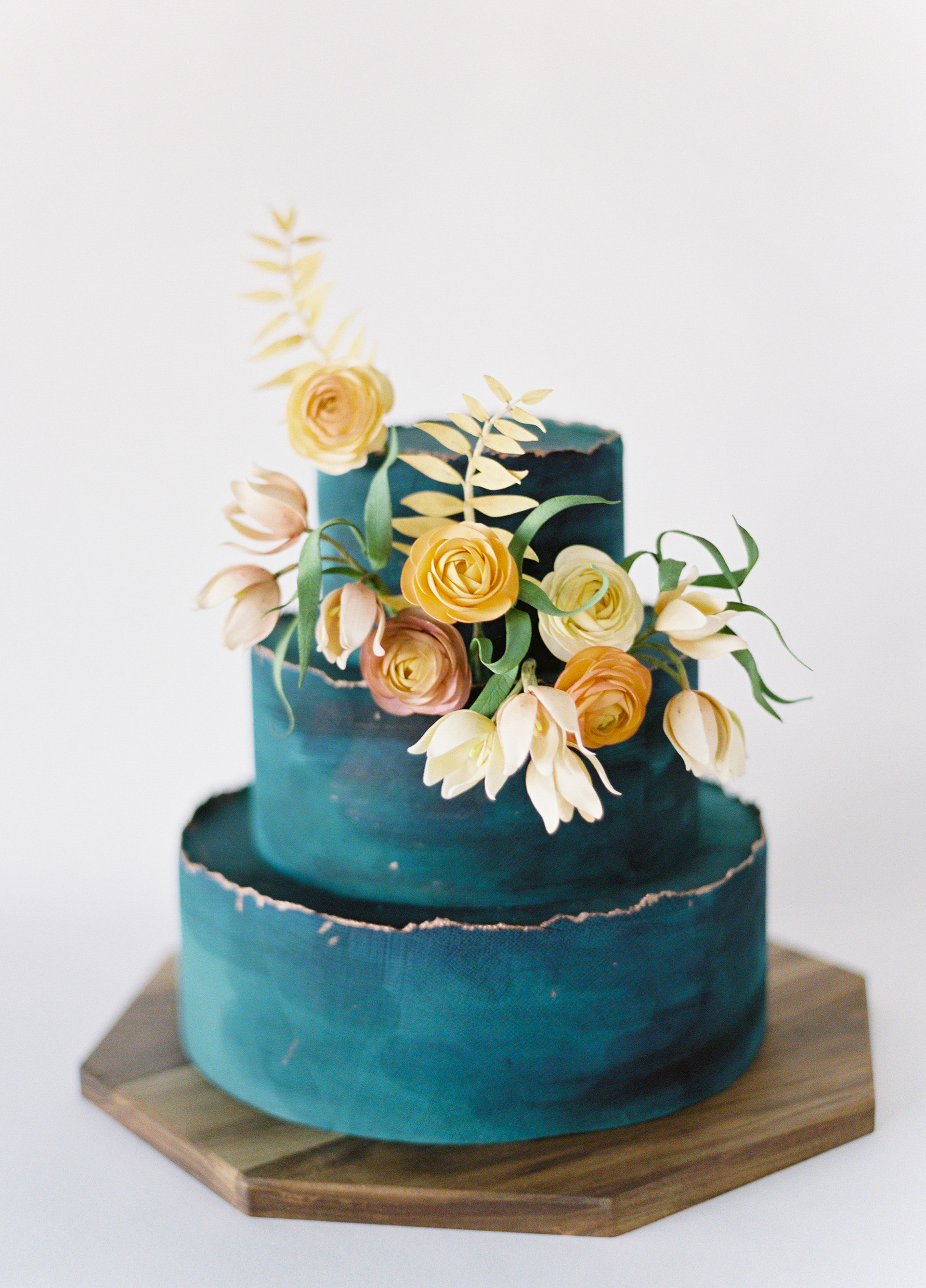 Teal Cake with Deckle-Edge Detail, Fall Wedding Cake Trends