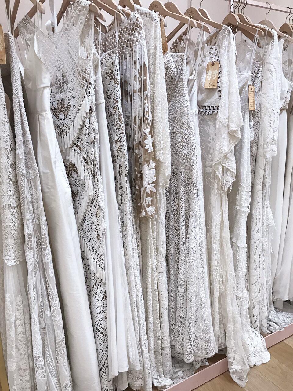 bridal dresses on rack