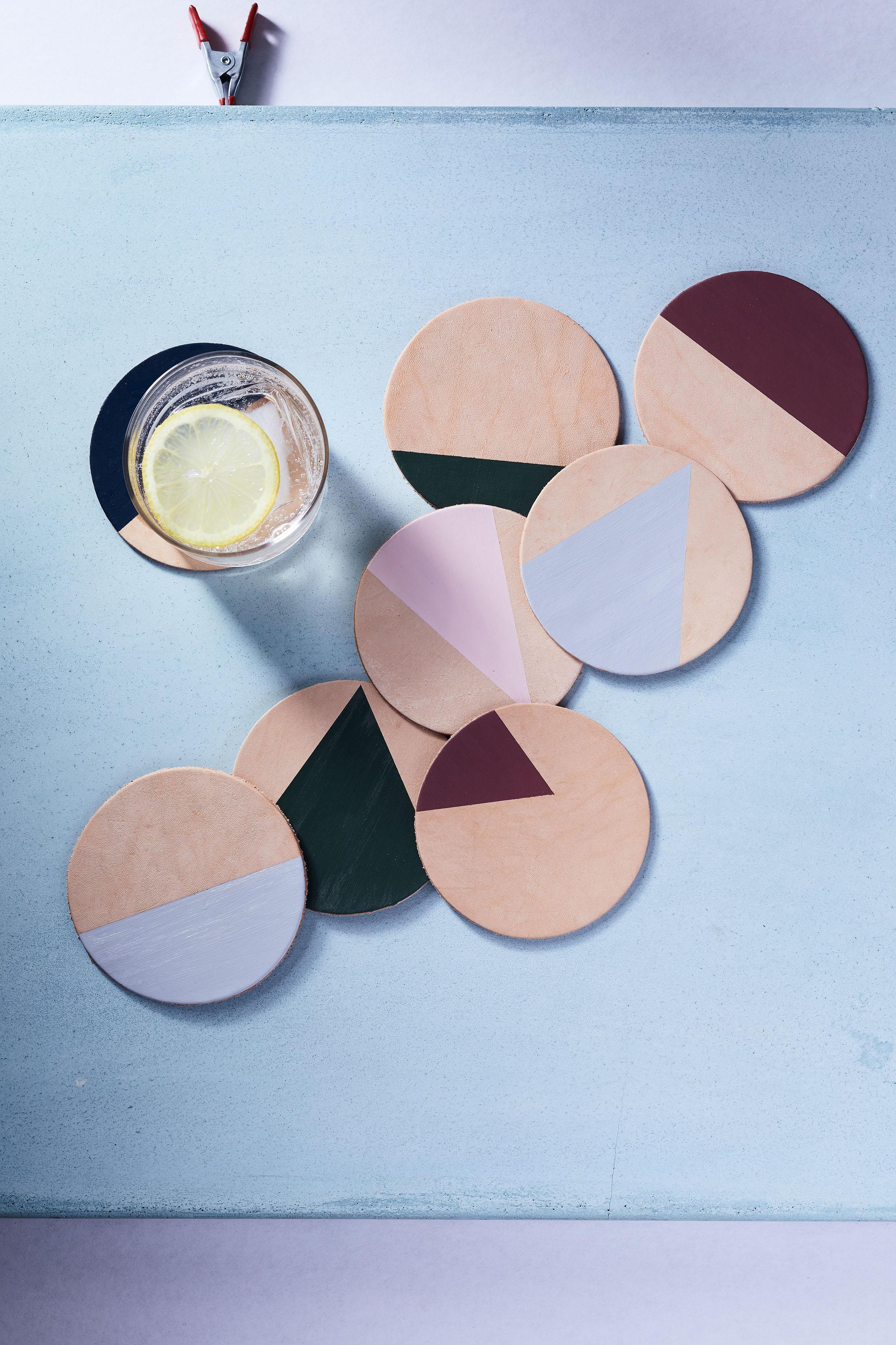 DIY Leather Geometric Coasters
