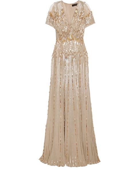 long beige gown