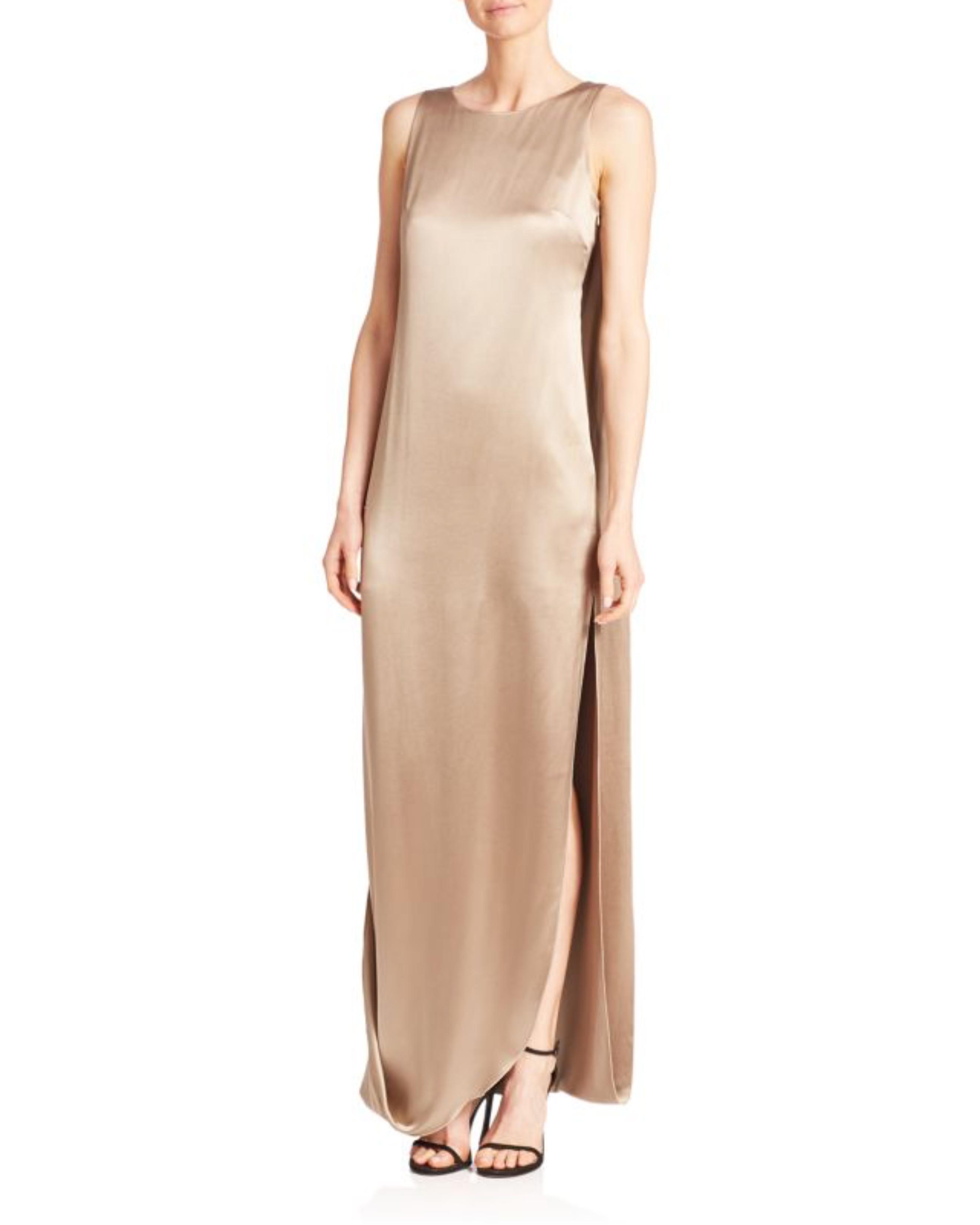 long silky beige gown