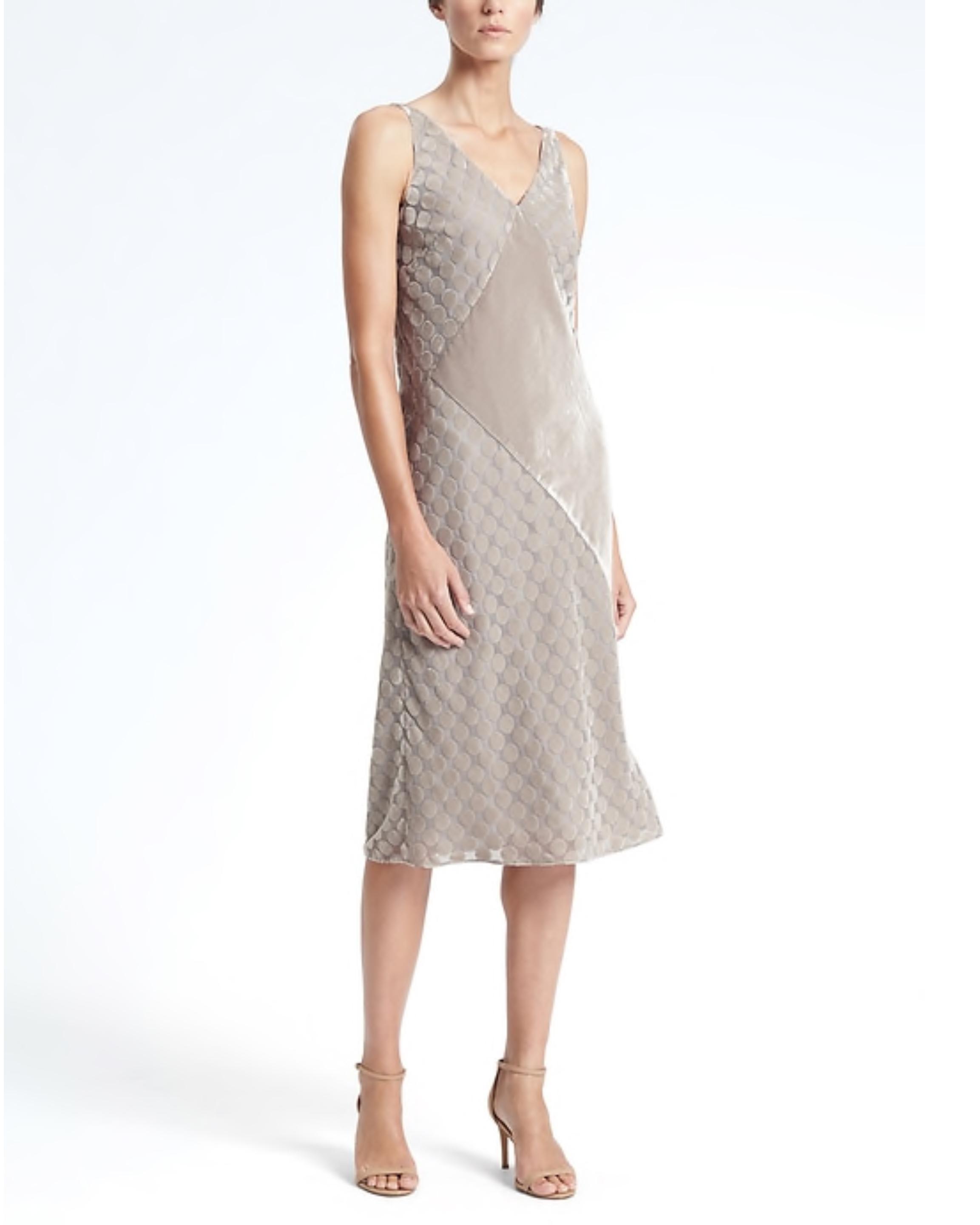 beige v-neck dress