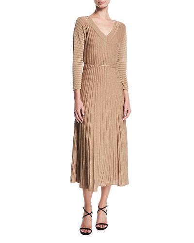 long sleeve v-neck beige gown