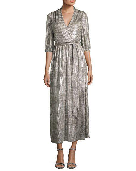 silver long sleeve wrap dress