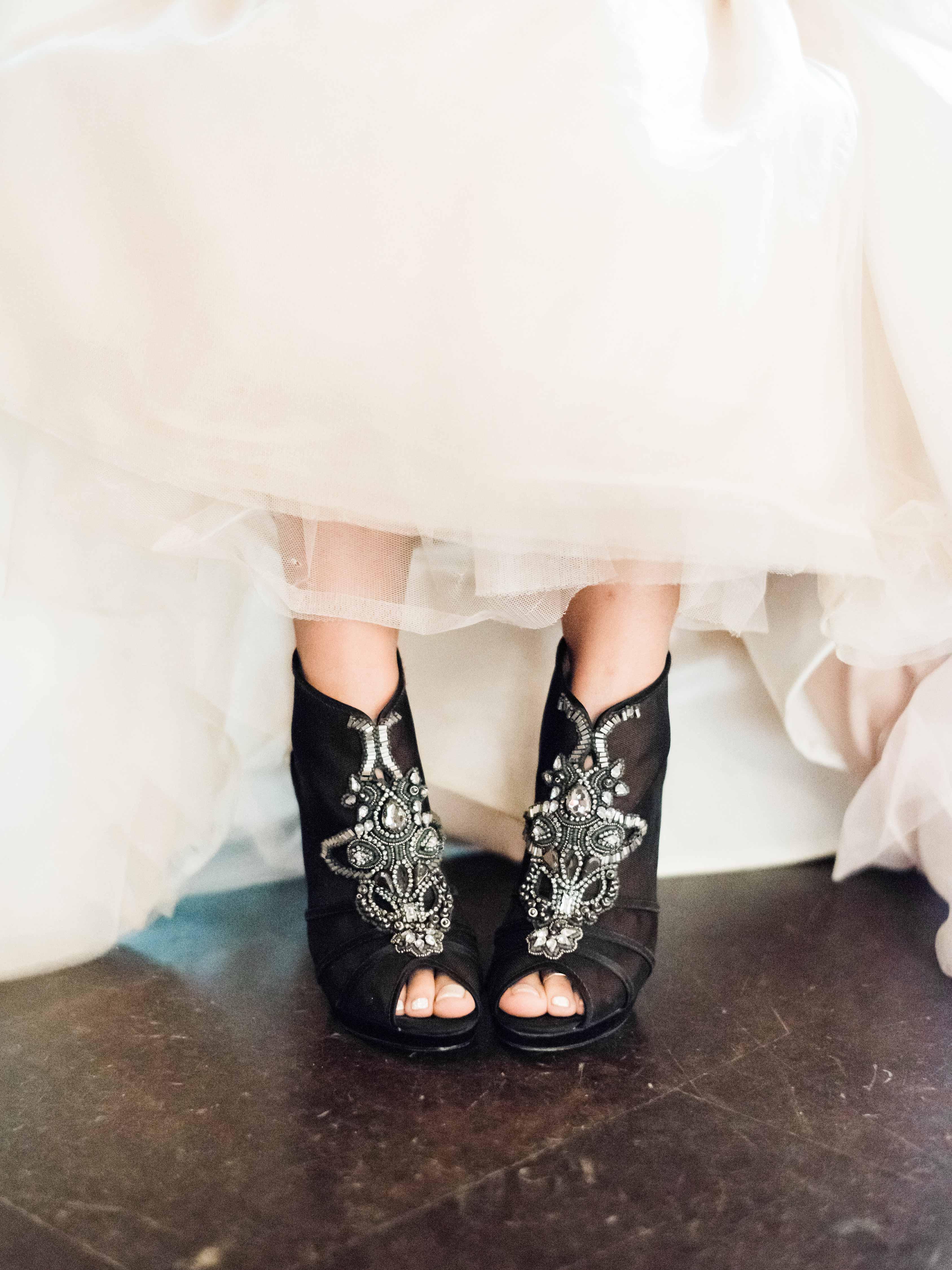 black jeweled heels