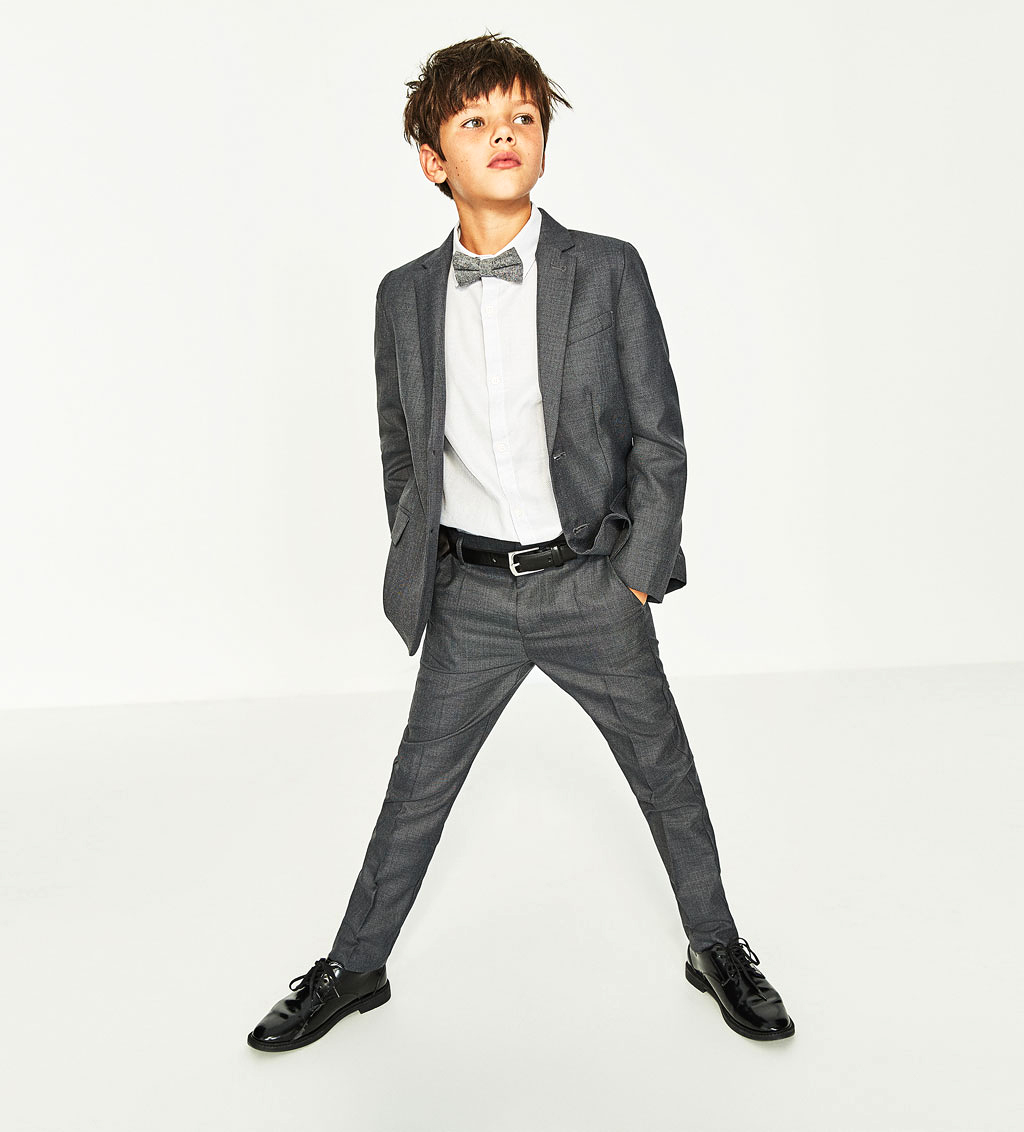 grey ring bearer suit