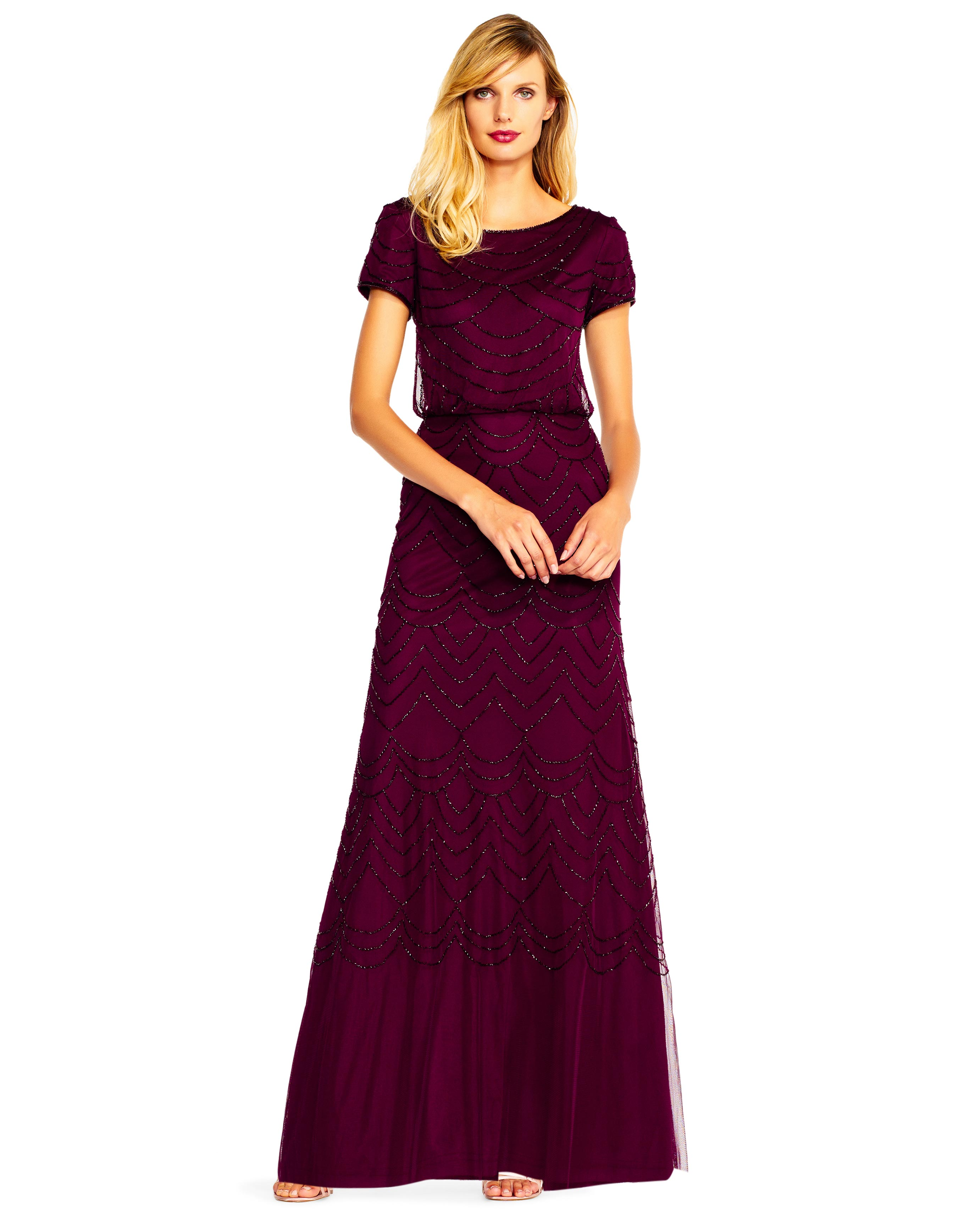 beaded burgundy gown
