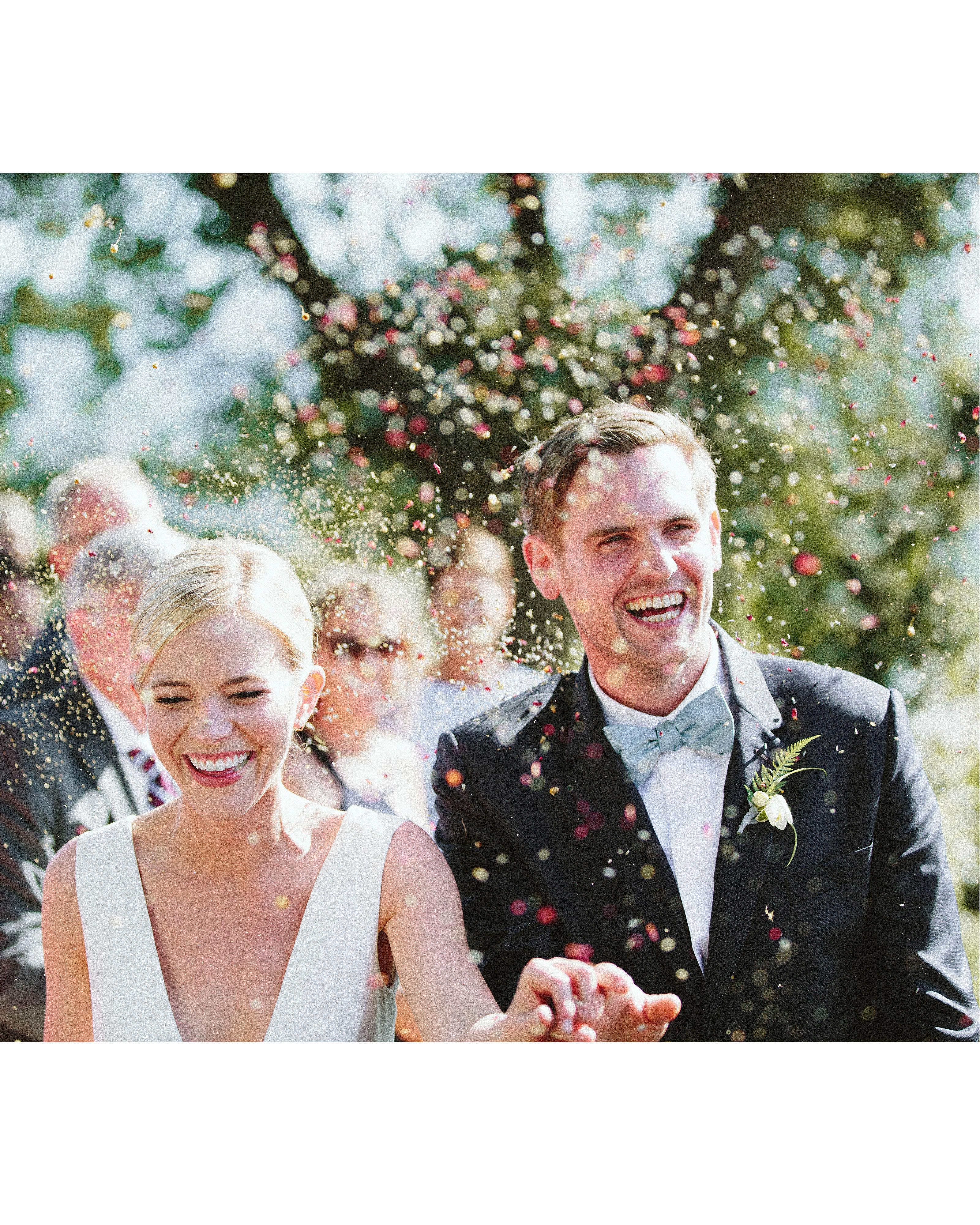 eliza peter wedding recessional toss