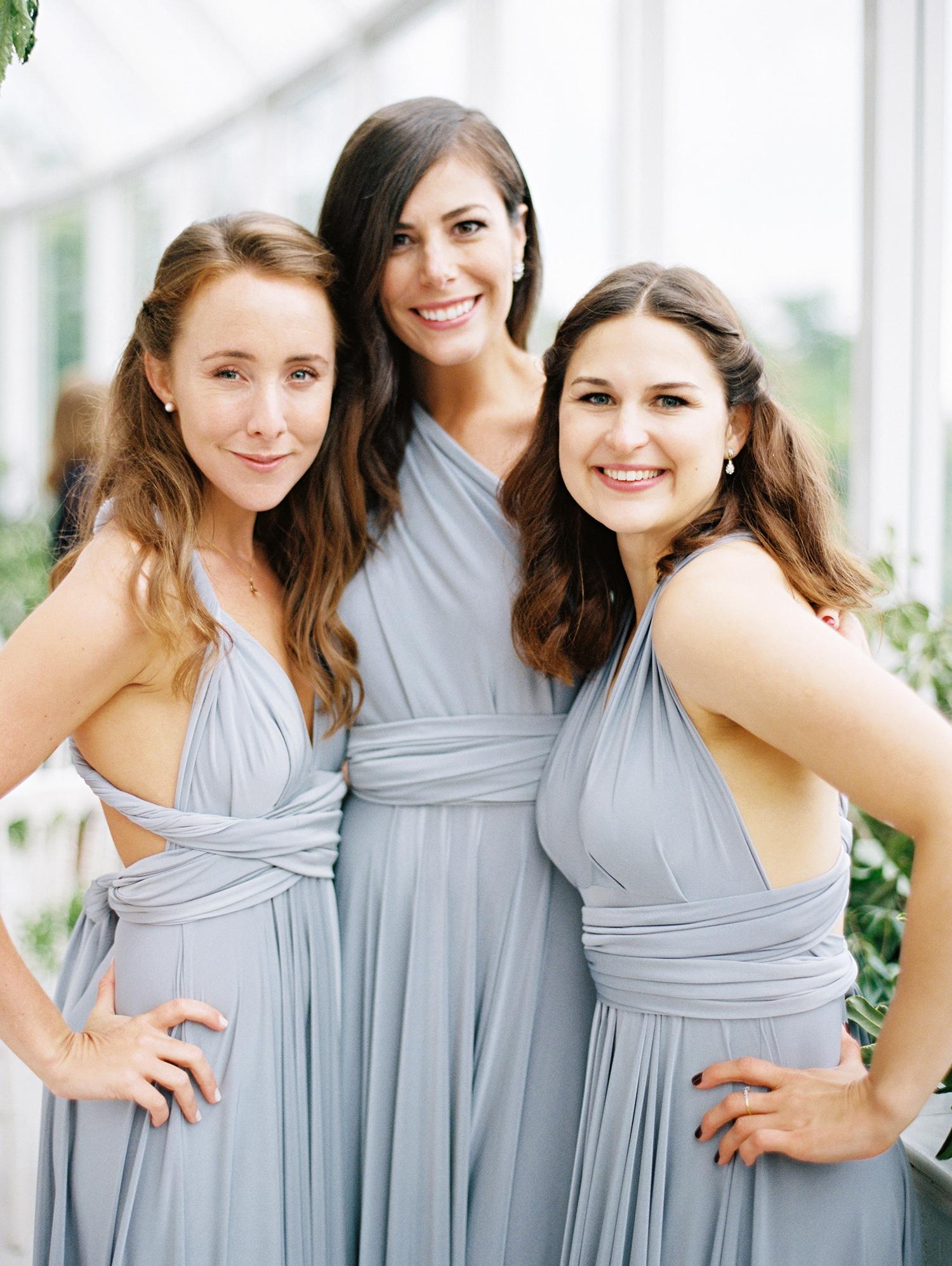 amanda alex wedding three bridesmaids portrait