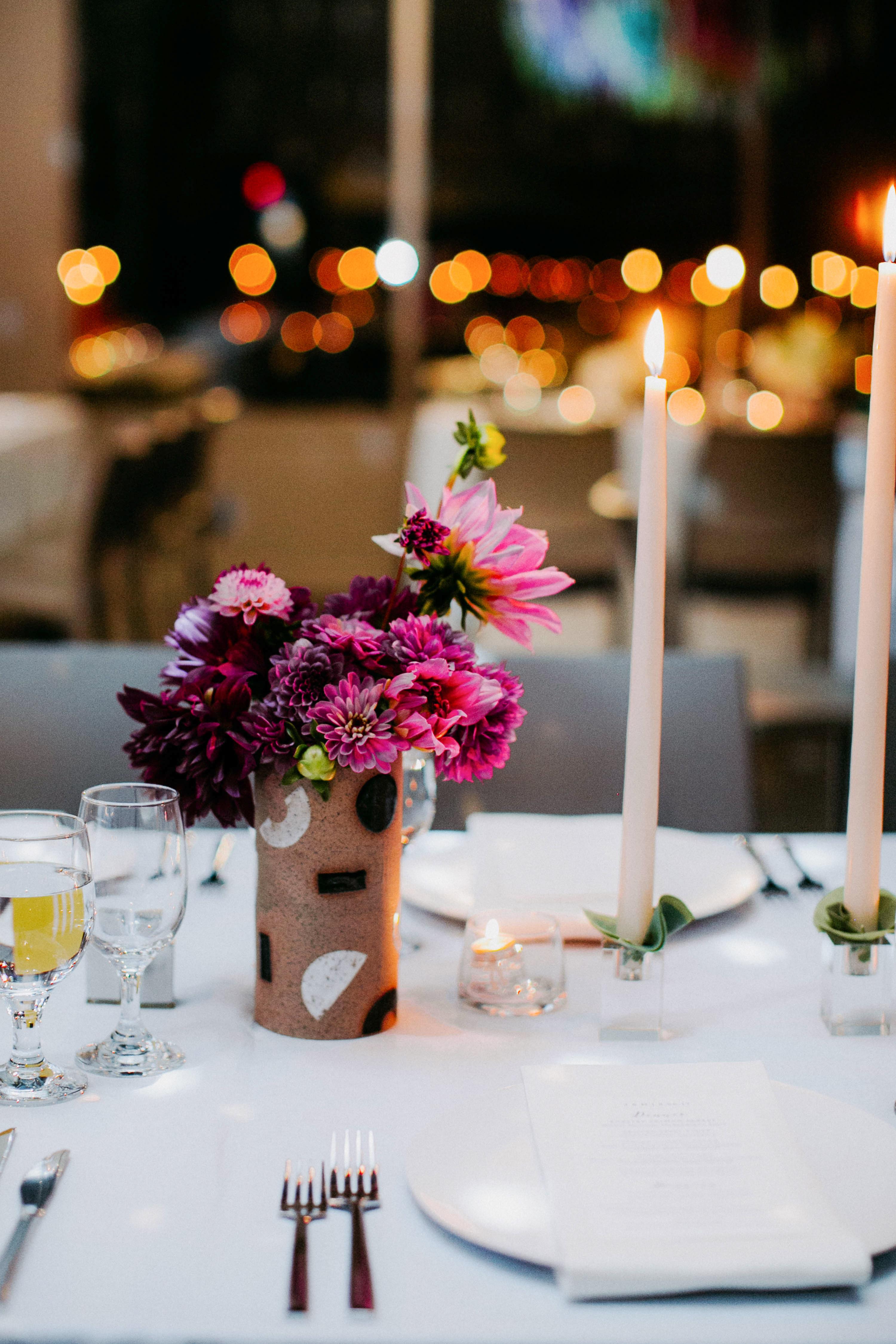 wedding reception flowers vase