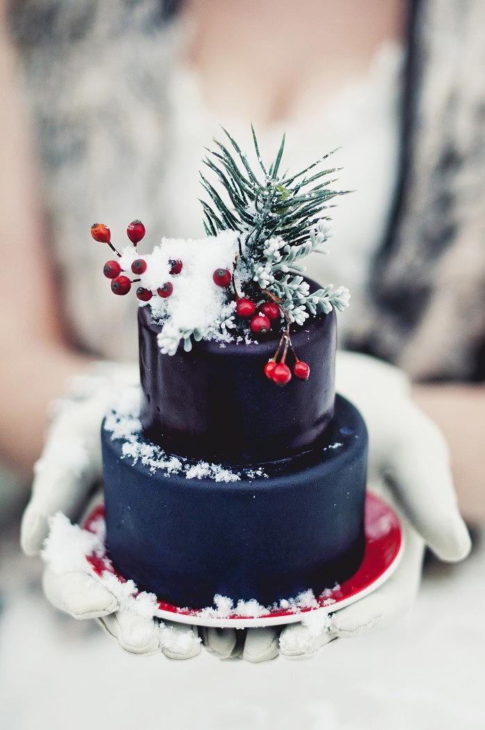 blue winter individual cake