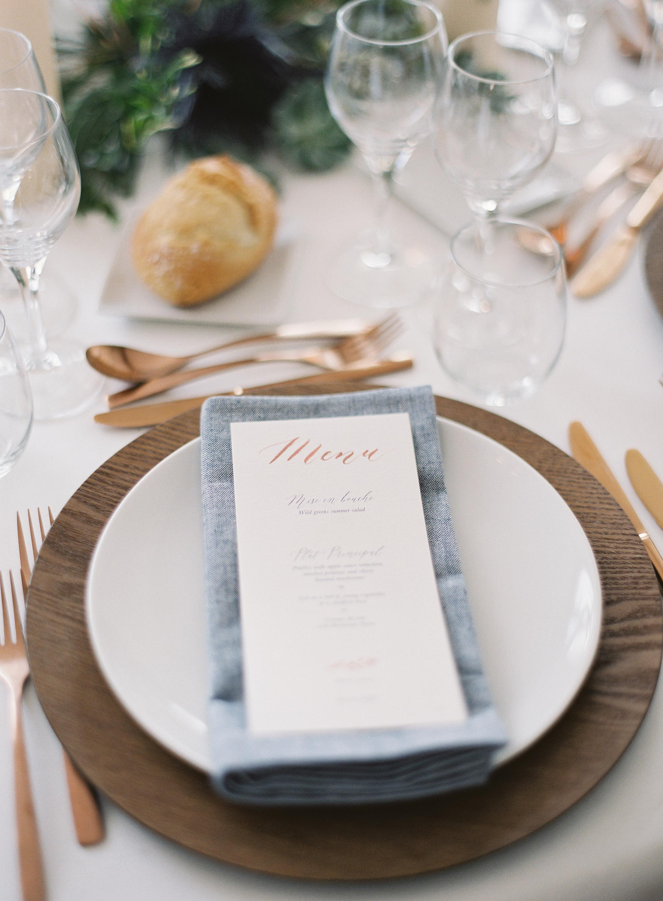 placesetting and menu