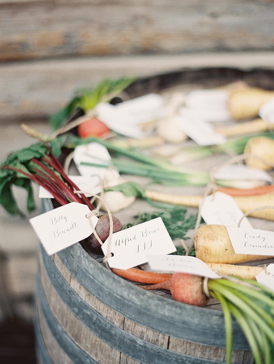 wedding veggies place cards