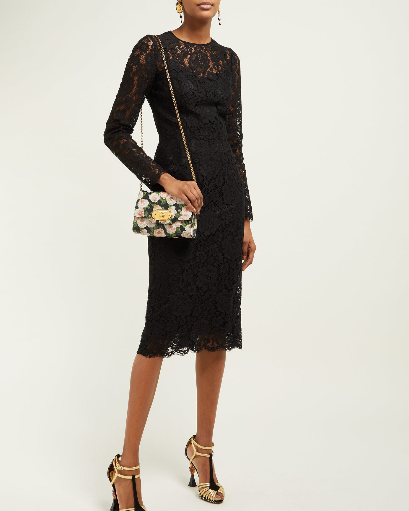 Dolce & Gabbana Floral and Eyelash Lace Midi Dress