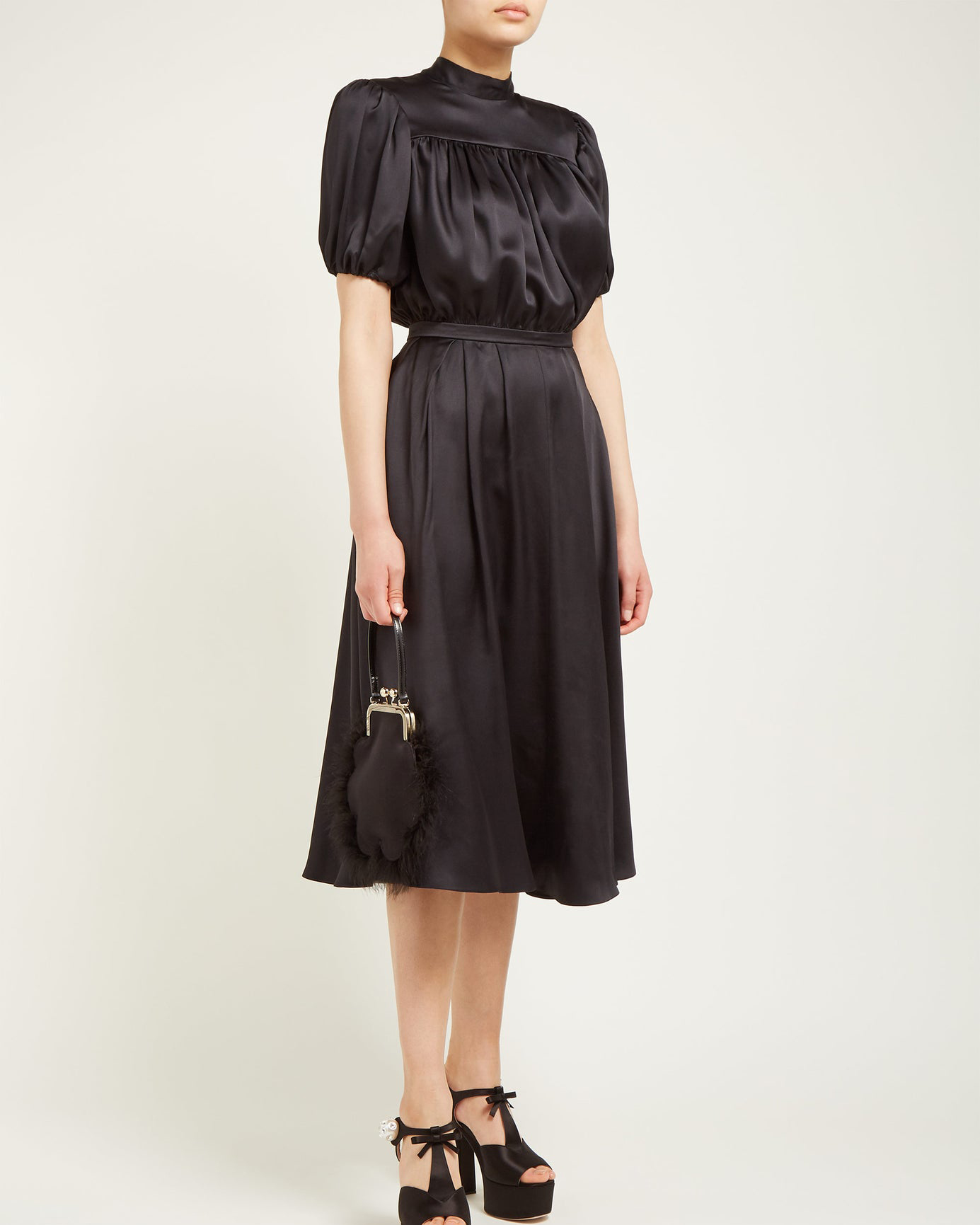 "Rochas ""Oylanlusso"" High-Neck Silk Bow Dress"