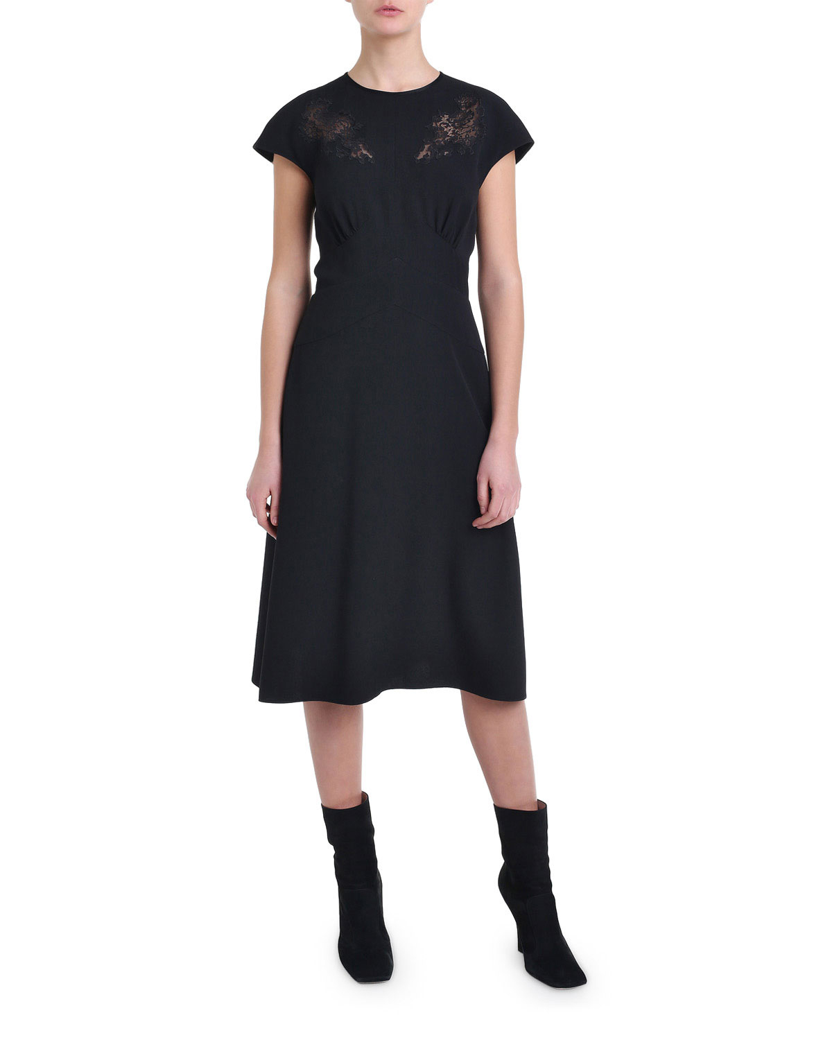 Fendi Cap-Sleeve Lace Cocktail Dress