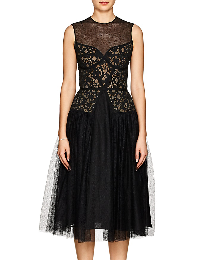 Sophia Kah Lace and Tulle Cocktail Dress