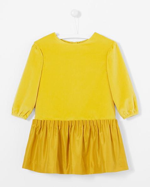 yellow long-sleeve flower girl dress