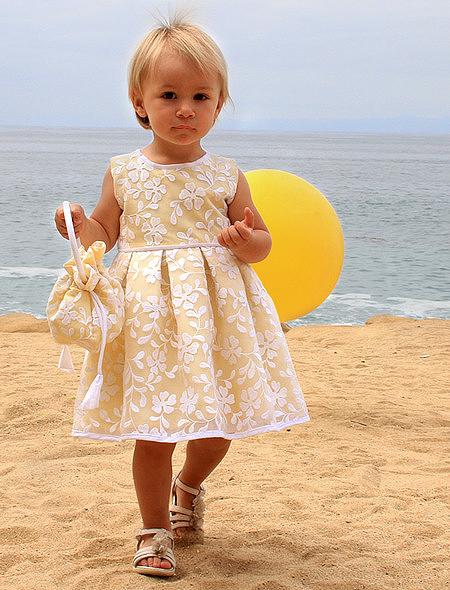 yellow floral flower girl dress