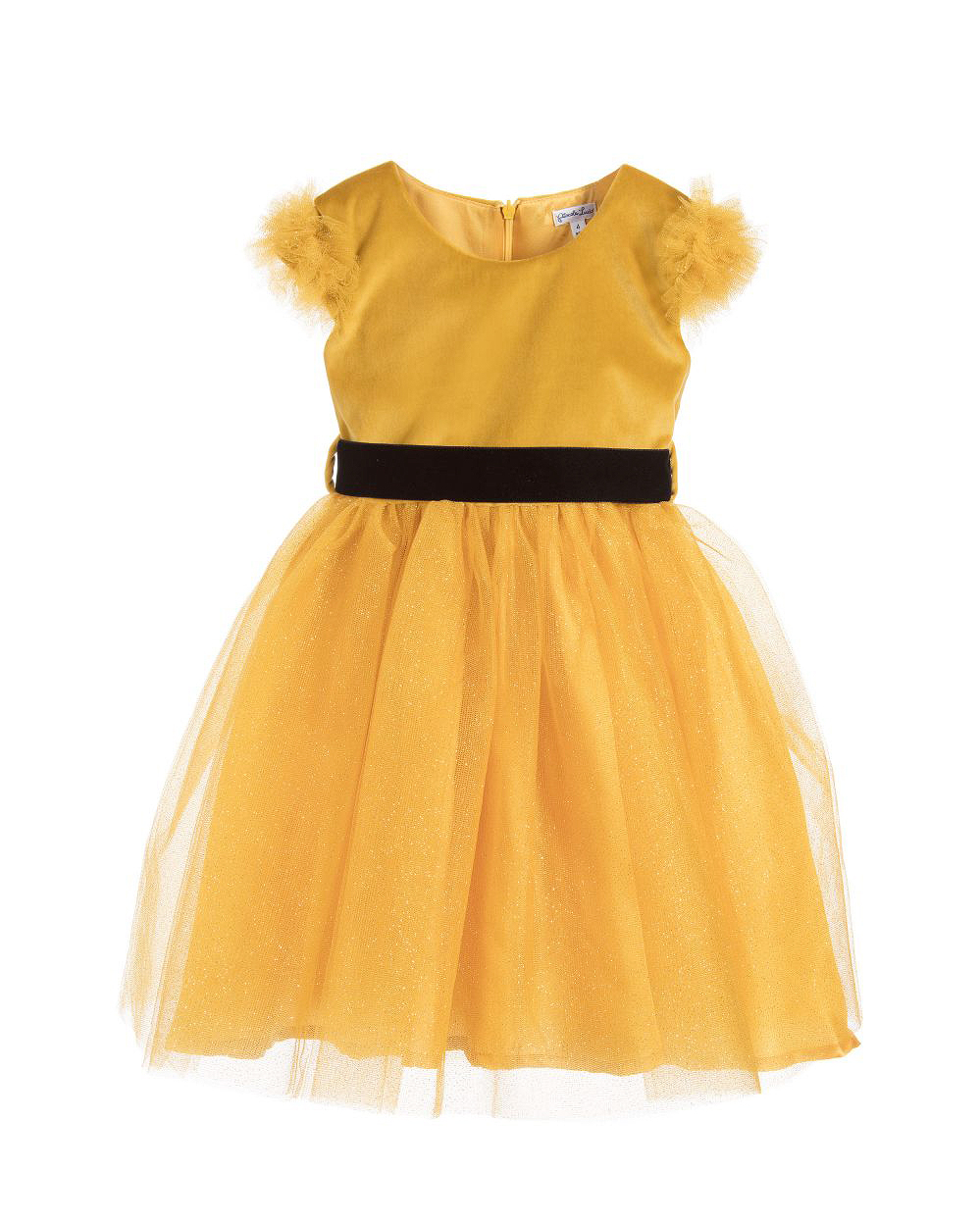 yellow flower girl dress black bow
