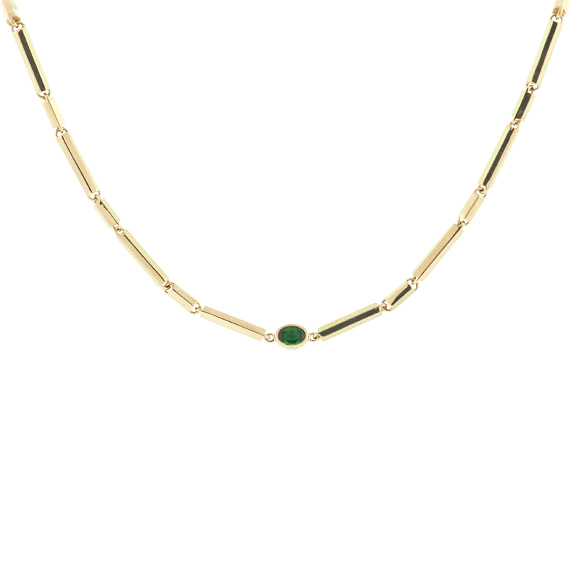 green stone gold necklace