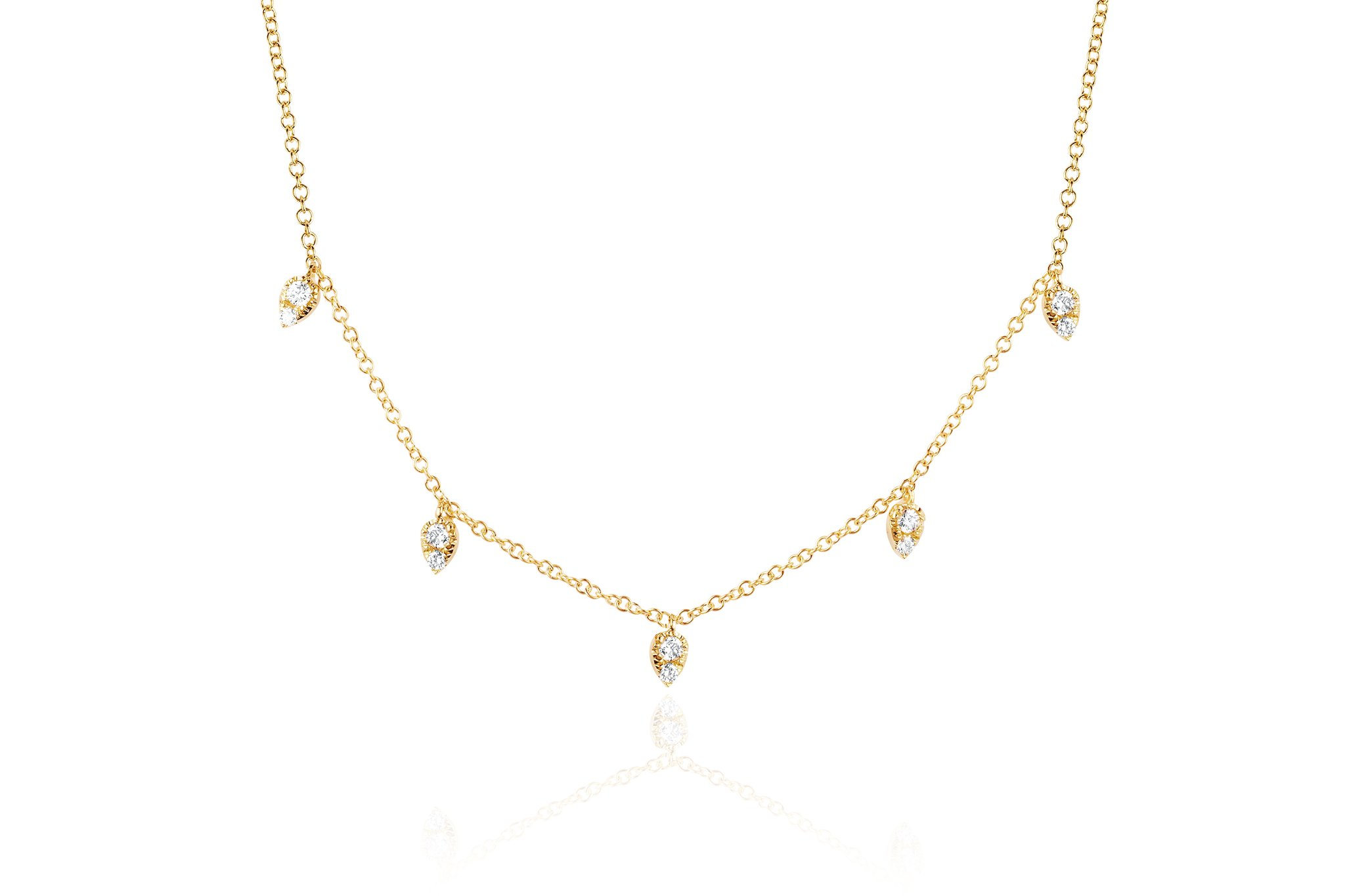 delicate gold drop necklace EF collection