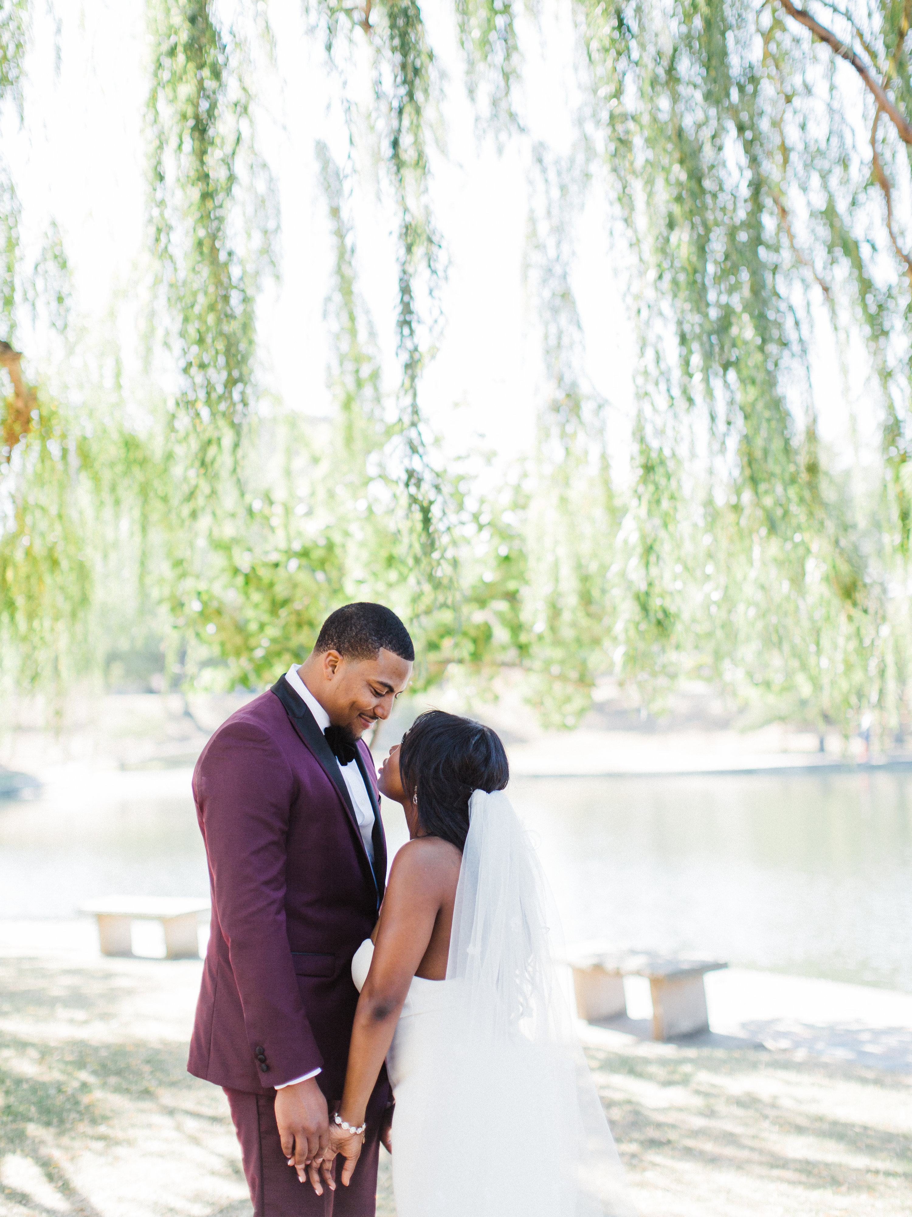 shanice & stephen wedding first look under tree