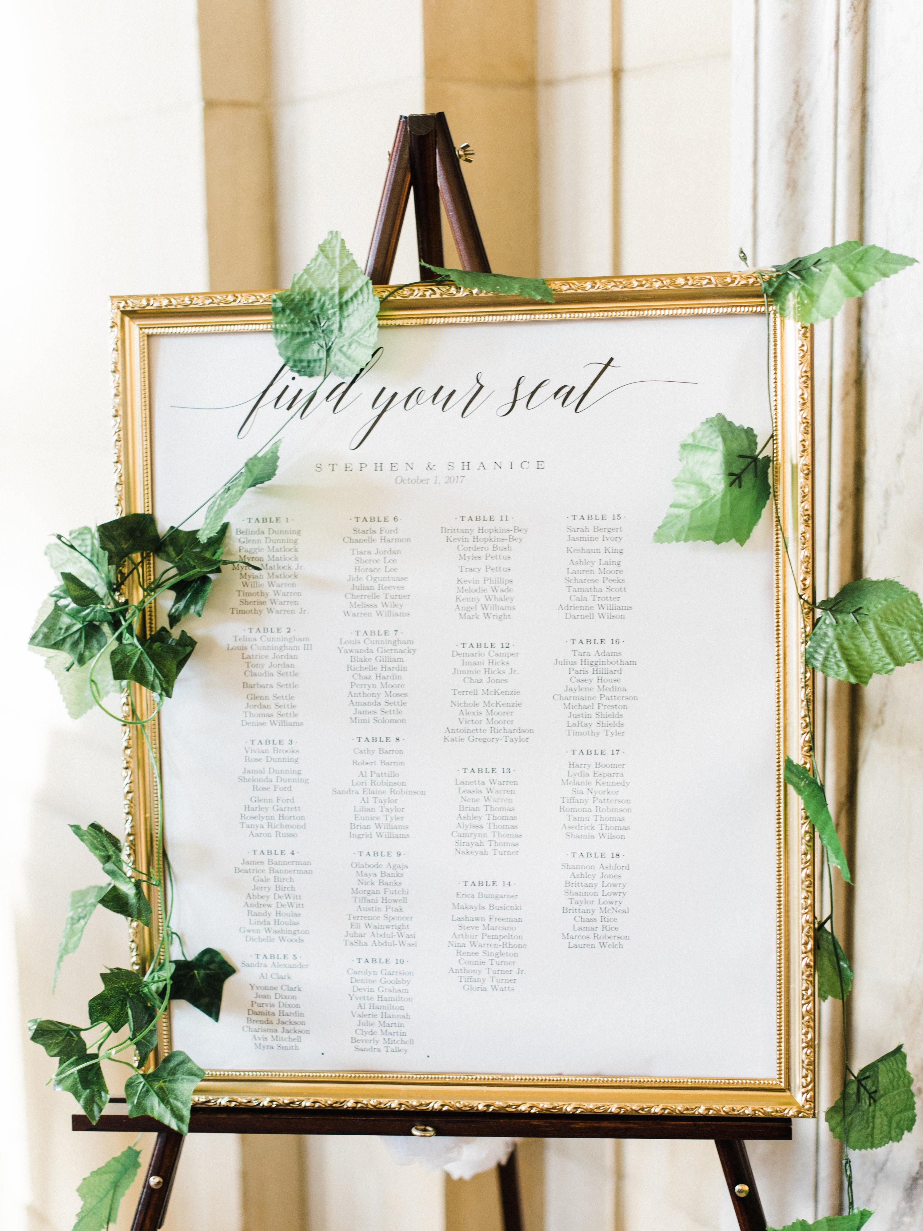 shanice & stephen wedding seating chart