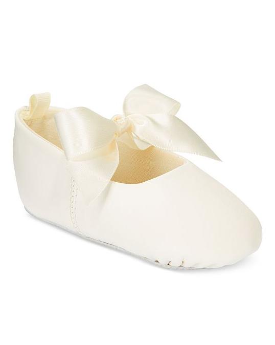 white flower girl ballerina shoe with bow