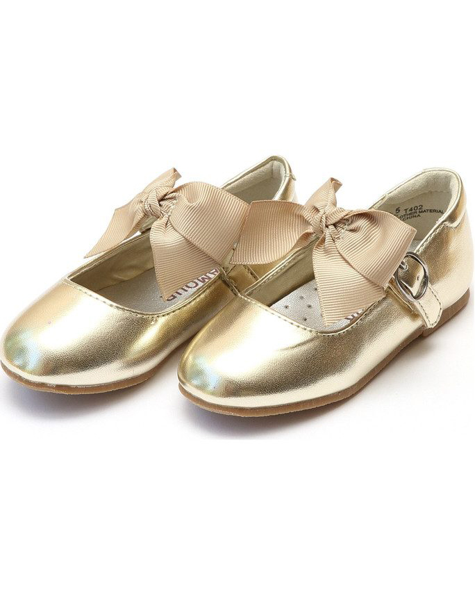 flower girl shoes gold bow flats