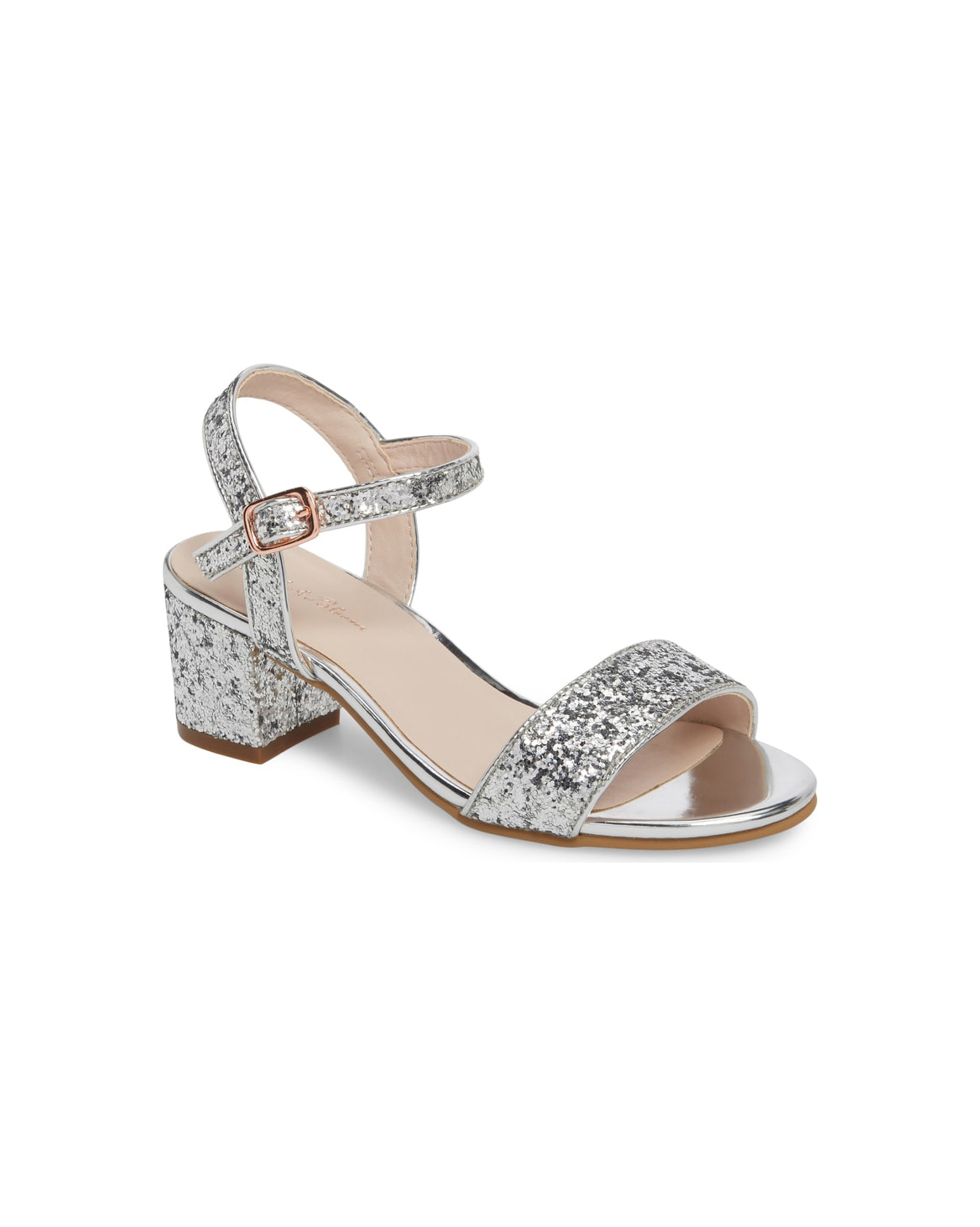 flower girl shoes shiny block heels