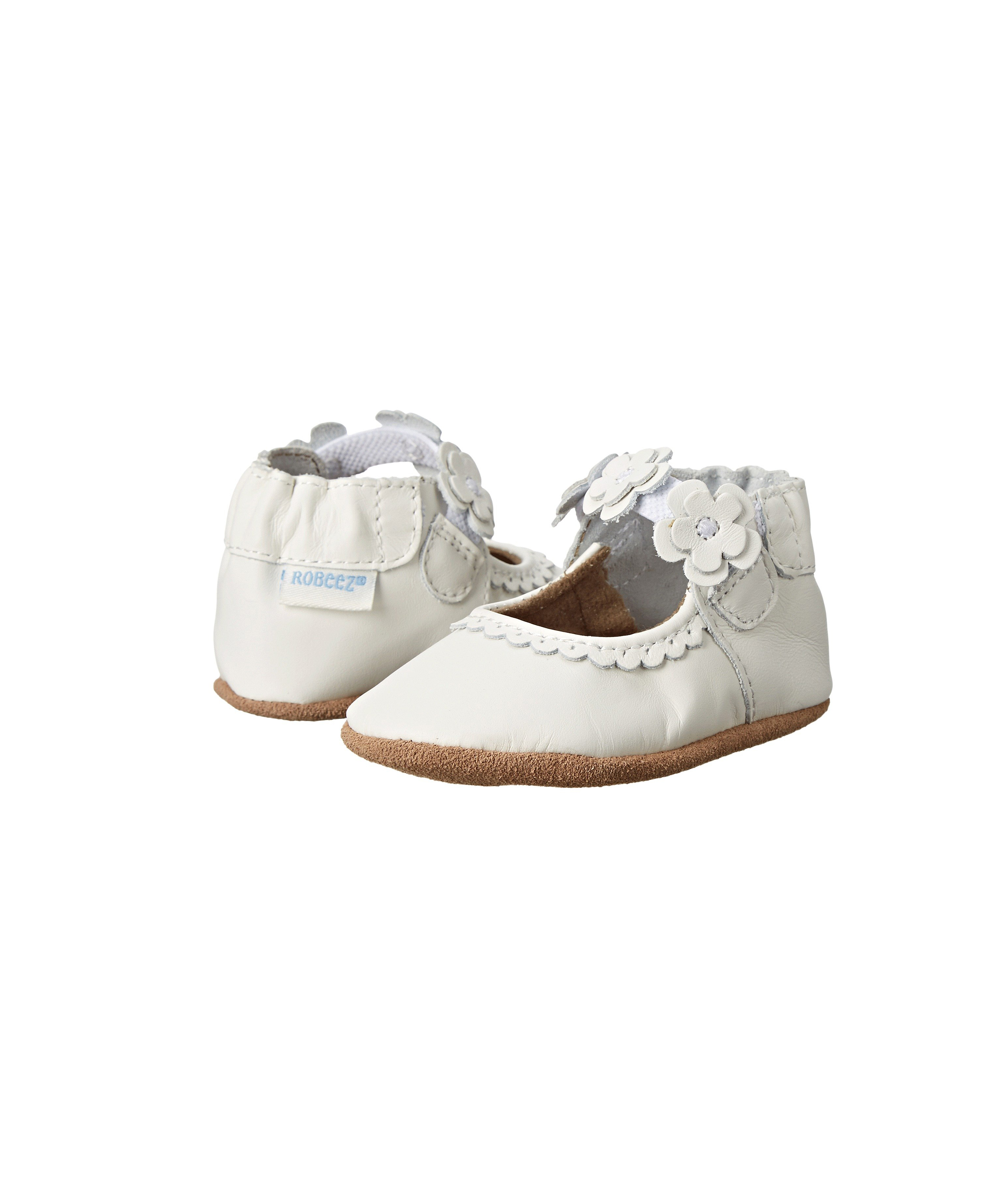 flower girl white leather suede floral shoes